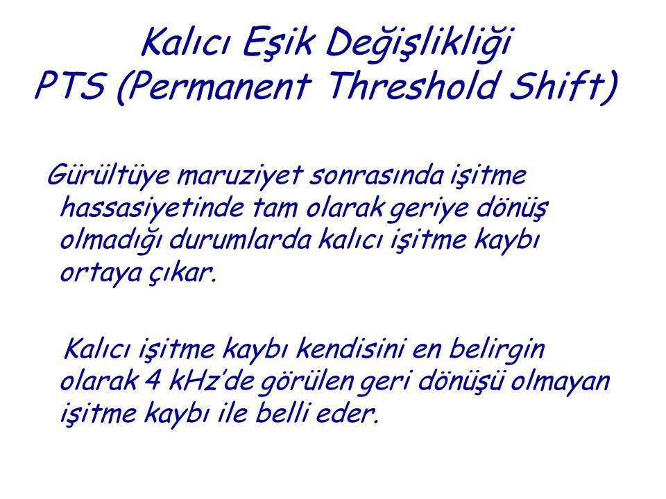 Kalıcı Eşik Değişlikliği PTS (Permanent Threshold Shift) Gürültüye maruziyet sonrasında işitme hassasiyetinde tam olarak geriye dönüş olmadığı durumlarda kalıcı işitme kaybı ortaya çıkar.