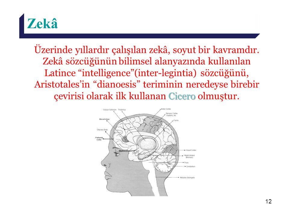 """12 Zekâ Cicero Üzerinde yıllardır çalışılan zekâ, soyut bir kavramdır. Zekâ sözcüğünün bilimsel alanyazında kullanılan Latince """"intelligence""""(inter-le"""