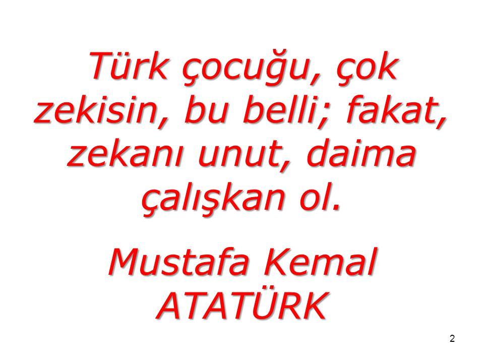 2 Türk çocuğu, çok zekisin, bu belli; fakat, zekanı unut, daima çalışkan ol. Mustafa Kemal ATATÜRK