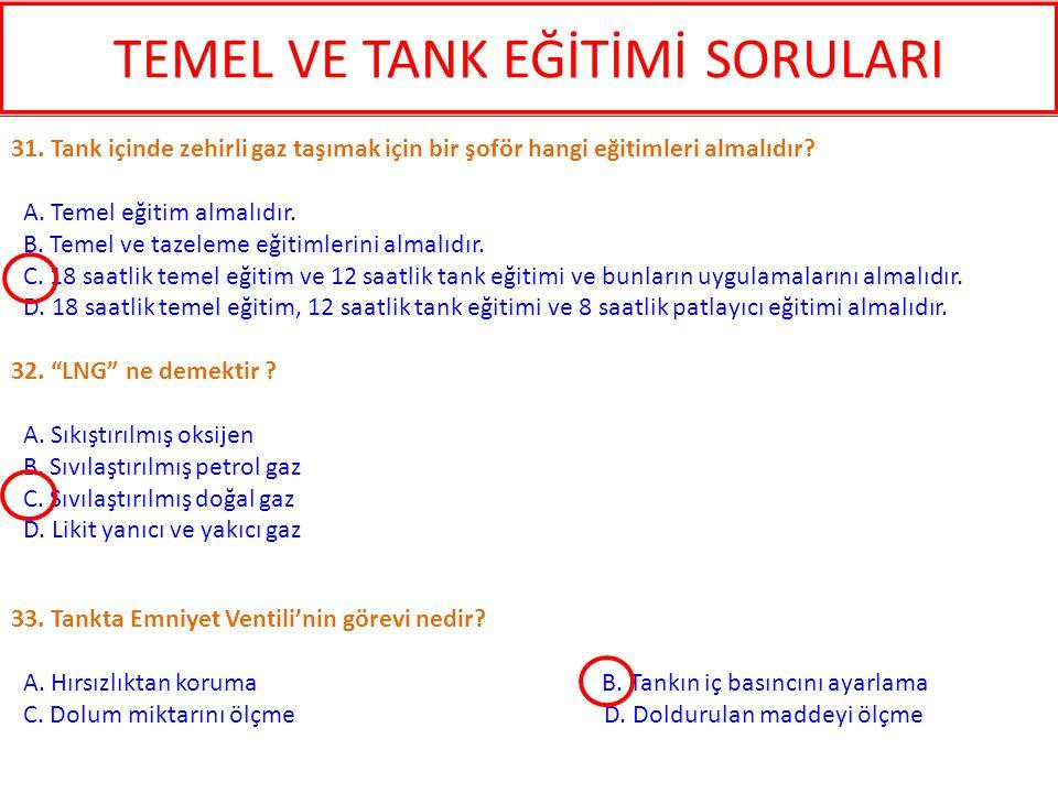 33. Tankta Emniyet Ventili'nin görevi nedir? A. Hırsızlıktan koruma B. Tankın iç basıncını ayarlama C. Dolum miktarını ölçme D. Doldurulan maddeyi ölç