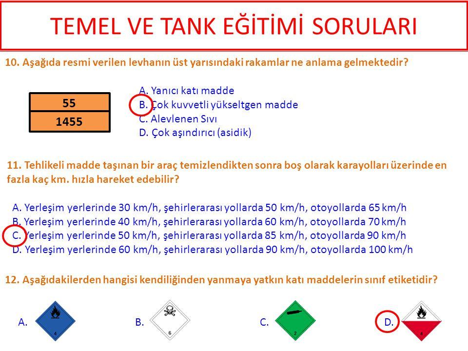 12. Aşağıdakilerden hangisi kendiliğinden yanmaya yatkın katı maddelerin sınıf etiketidir? A. B. C. D. 10. Aşağıda resmi verilen levhanın üst yarısınd