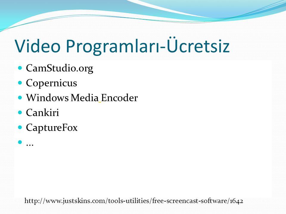 Video Programları ÖzelliklerCaptivate 3Camtasia 6JingScreencorder 5 Ses kayıt özelliğiVarvarVarvar Ekran Kayıt özelliğiVarvar Kayıt formatlarıAVI, Flash AVI, GIF, Flash, iPod video(MP4), MP3,QuickTime, Real- Media, WMV Flash AVI, Flash, FLV, WMV Etkileşim özelliğiVarvaryokvar Test etme / QuizVarvaryokvar Powerpoint entegrasyonu Varvaryok Kaydedilen dosyalar üzerinde düzeltmeye izin verme VarvaryokVar FiyatParalı ÜcretsizParalı Eğitime özel fiyatlandırma Var Yok(Ücretsiz)Var Teknik Bilgi GereksinimiVar YokVar M.