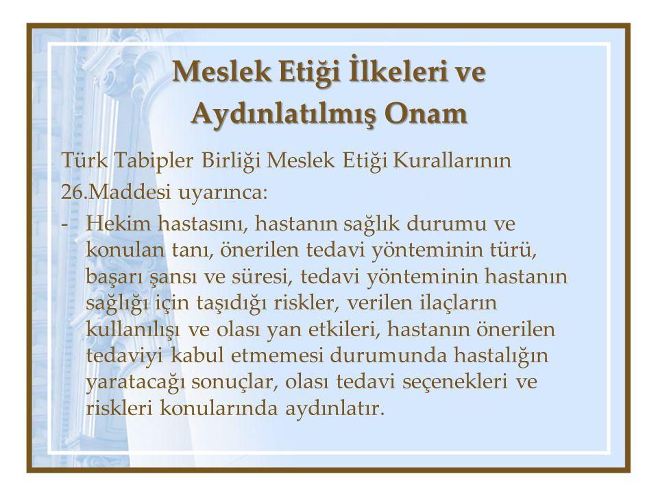 Türk Tabipler Birliği Meslek Etiği Kurallarının 26.Maddesi uyarınca: -Hekim hastasını, hastanın sağlık durumu ve konulan tanı, önerilen tedavi yöntemi