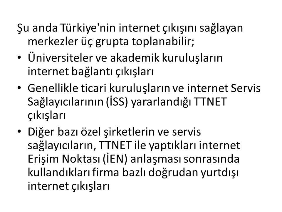 Şu anda Türkiye nin internet çıkışını sağlayan merkezler üç grupta toplanabilir; • Üniversiteler ve akademik kuruluşların internet bağlantı çıkışları • Genellikle ticari kuruluşların ve internet Servis Sağlayıcılarının (İSS) yararlandığı TTNET çıkışları • Diğer bazı özel şirketlerin ve servis sağlayıcıların, TTNET ile yaptıkları internet Erişim Noktası (İEN) anlaşması sonrasında kullandıkları firma bazlı doğrudan yurtdışı internet çıkışları