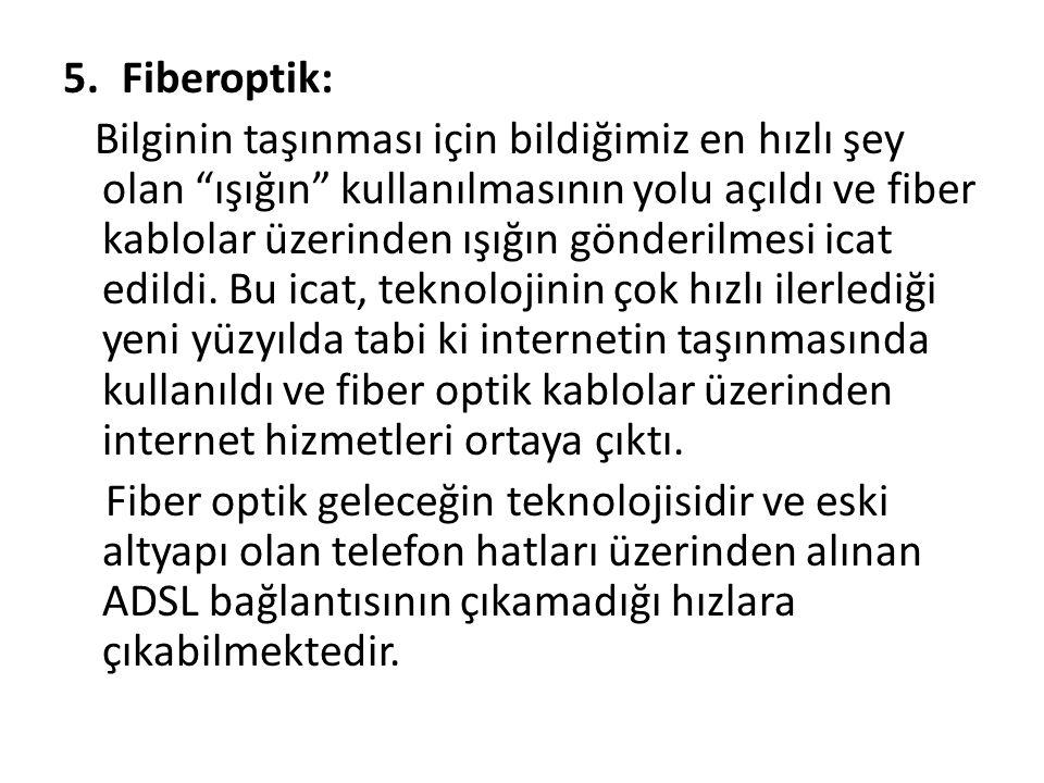 """5.Fiberoptik: Bilginin taşınması için bildiğimiz en hızlı şey olan """"ışığın"""" kullanılmasının yolu açıldı ve fiber kablolar üzerinden ışığın gönderilmes"""