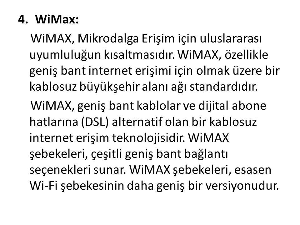4.WiMax: WiMAX, Mikrodalga Erişim için uluslararası uyumluluğun kısaltmasıdır. WiMAX, özellikle geniş bant internet erişimi için olmak üzere bir kablo