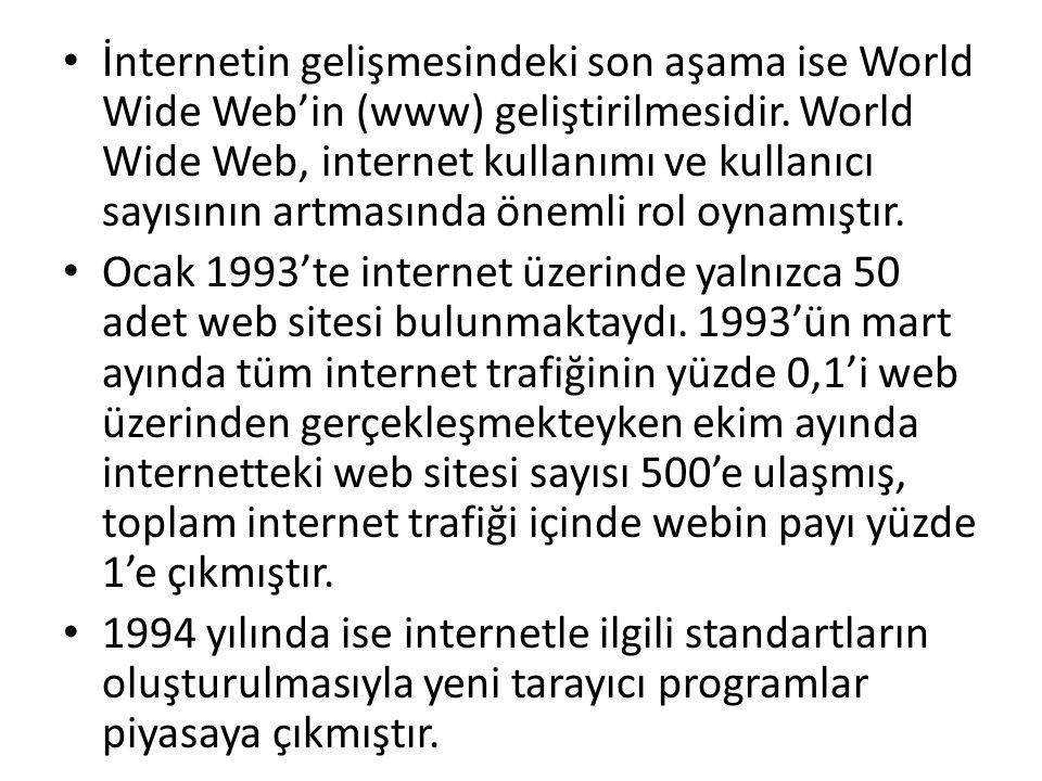 • İnternetin gelişmesindeki son aşama ise World Wide Web'in (www) geliştirilmesidir. World Wide Web, internet kullanımı ve kullanıcı sayısının artması