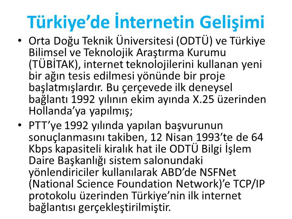 Türkiye'de İnternetin Gelişimi • Orta Doğu Teknik Üniversitesi (ODTÜ) ve Türkiye Bilimsel ve Teknolojik Araştırma Kurumu (TÜBİTAK), internet teknolojilerini kullanan yeni bir ağın tesis edilmesi yönünde bir proje başlatmışlardır.