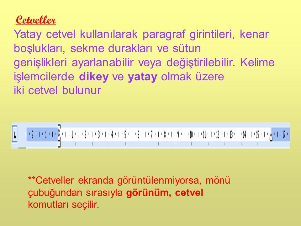 Cetveller Yatay cetvel kullanılarak paragraf girintileri, kenar boşlukları, sekme durakları ve sütun genişlikleri ayarlanabilir veya değiştirilebilir.