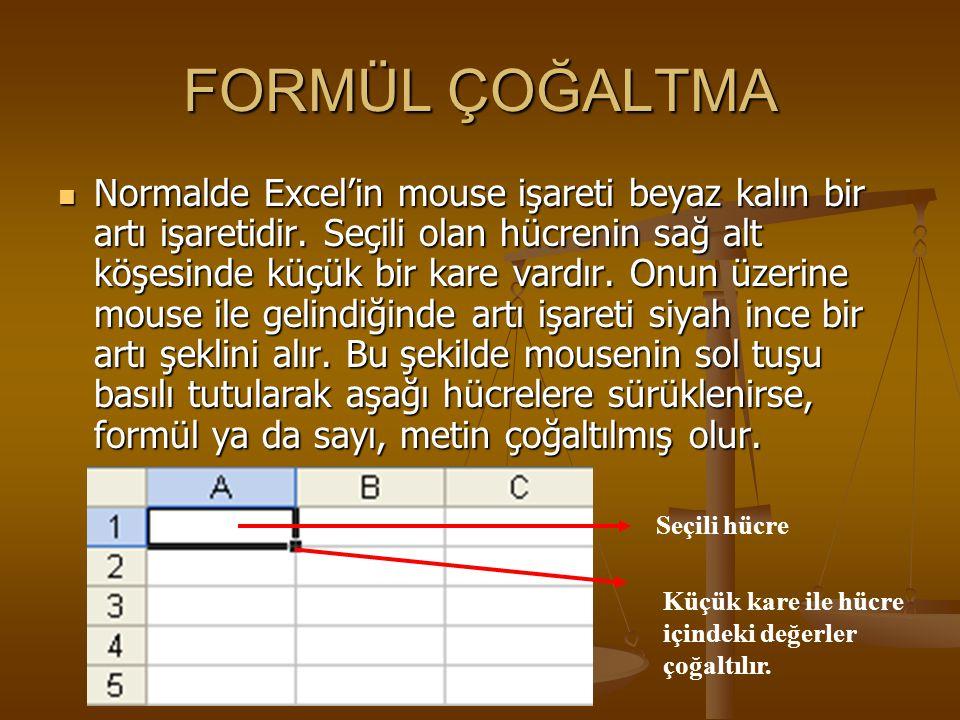 FORMÜL ÇOĞALTMA NNNNormalde Excel'in mouse işareti beyaz kalın bir artı işaretidir. Seçili olan hücrenin sağ alt köşesinde küçük bir kare vardır.