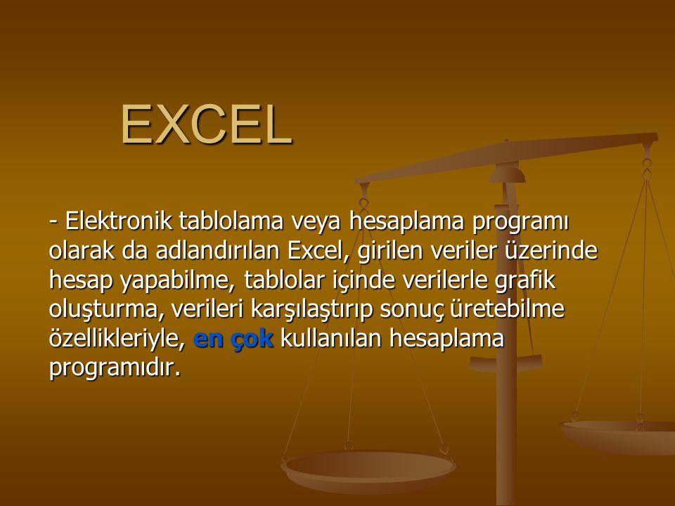 EXCEL - Elektronik tablolama veya hesaplama programı olarak da adlandırılan Excel, girilen veriler üzerinde hesap yapabilme, tablolar içinde verilerle