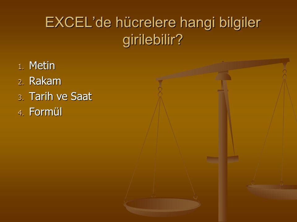 EXCEL'de FORMÜL OLUŞTURMA  Excel'de formül oluştururken şu kurallara uymak gerekir: 1.