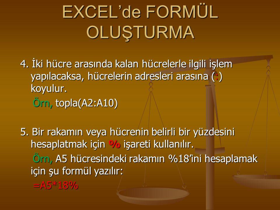 EXCEL'de FORMÜL OLUŞTURMA 6.