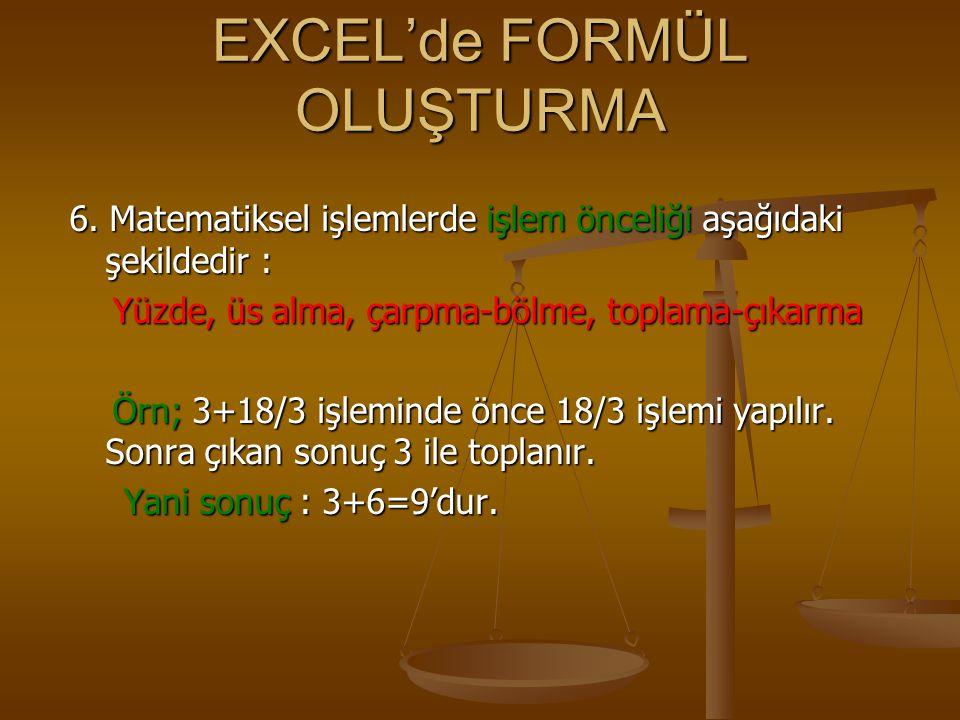 EXCEL'de FORMÜL OLUŞTURMA 6. Matematiksel işlemlerde işlem önceliği aşağıdaki şekildedir : Yüzde, üs alma, çarpma-bölme, toplama-çıkarma Yüzde, üs alm