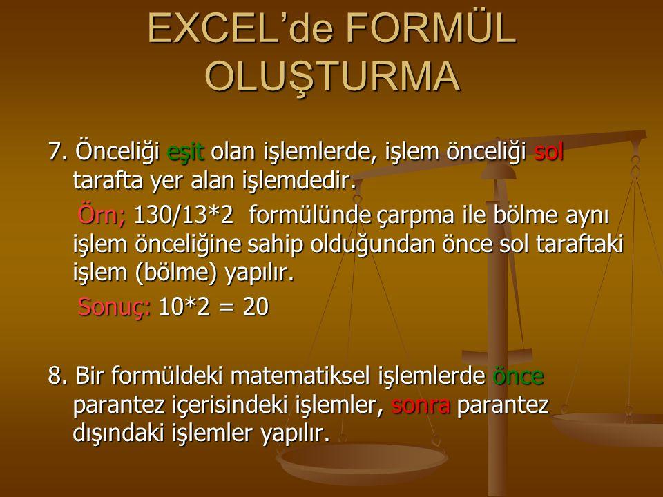 EXCEL'de FORMÜL OLUŞTURMA 7. Önceliği eşit olan işlemlerde, işlem önceliği sol tarafta yer alan işlemdedir. Örn; 130/13*2 formülünde çarpma ile bölme