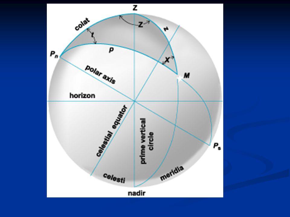 a ) Yıldız (Güneş) batıda b) Yıldız (Güneş) doğuda Z t a q KGK t 90  -  90  -  z = 90  -h S Meridyen Saat Dairesi Düşey Daire Z t a q KGK 90  -  90  -  z = 90  -h S Meridyen Saat Dairesi Düşey Daire a Şekil : 5.11 - Yıldız meridyenin batısında ve doğusunda iken oluşan astronomik üçgenler