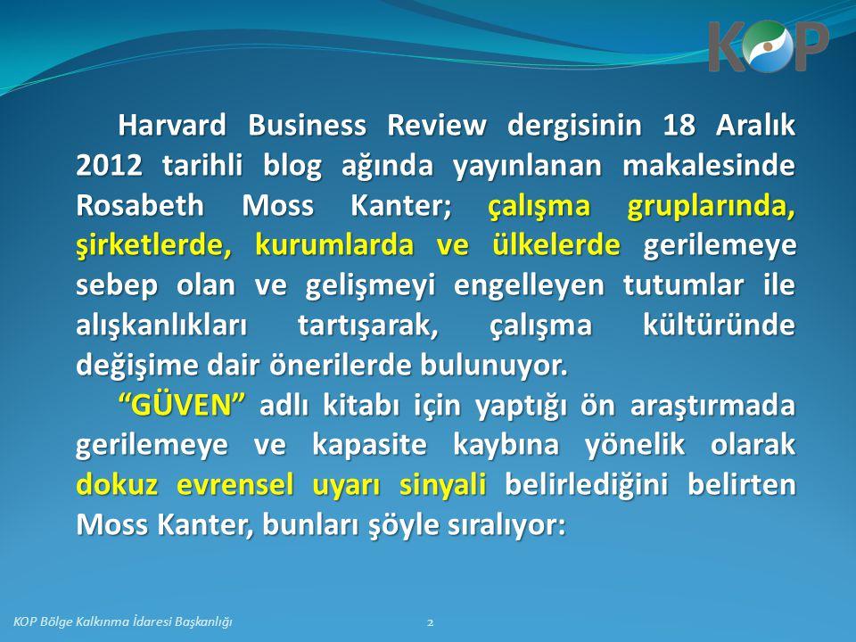 Harvard Business Review dergisinin 18 Aralık 2012 tarihli blog ağında yayınlanan makalesinde Rosabeth Moss Kanter; çalışma gruplarında, şirketlerde, k