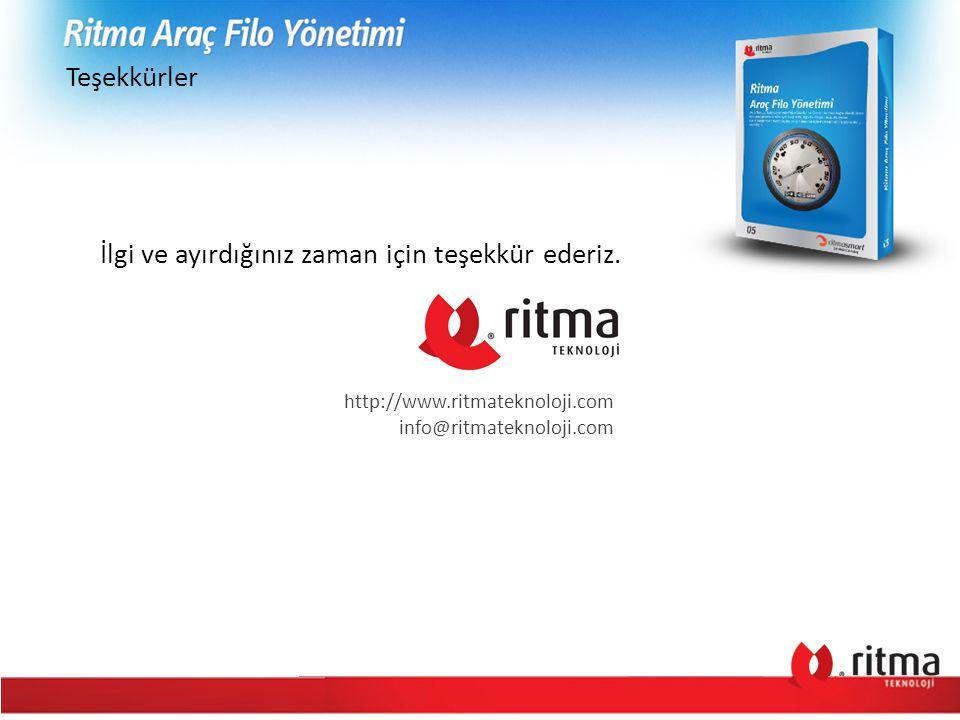 Teşekkürler İlgi ve ayırdığınız zaman için teşekkür ederiz. http://www.ritmateknoloji.com info@ritmateknoloji.com
