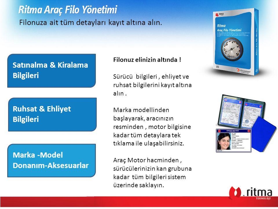 Filonuza ait tüm detayları kayıt altına alın. Satınalma & Kiralama Bilgileri Ruhsat & Ehliyet Bilgileri Marka -Model Donanım-Aksesuarlar Filonuz elini