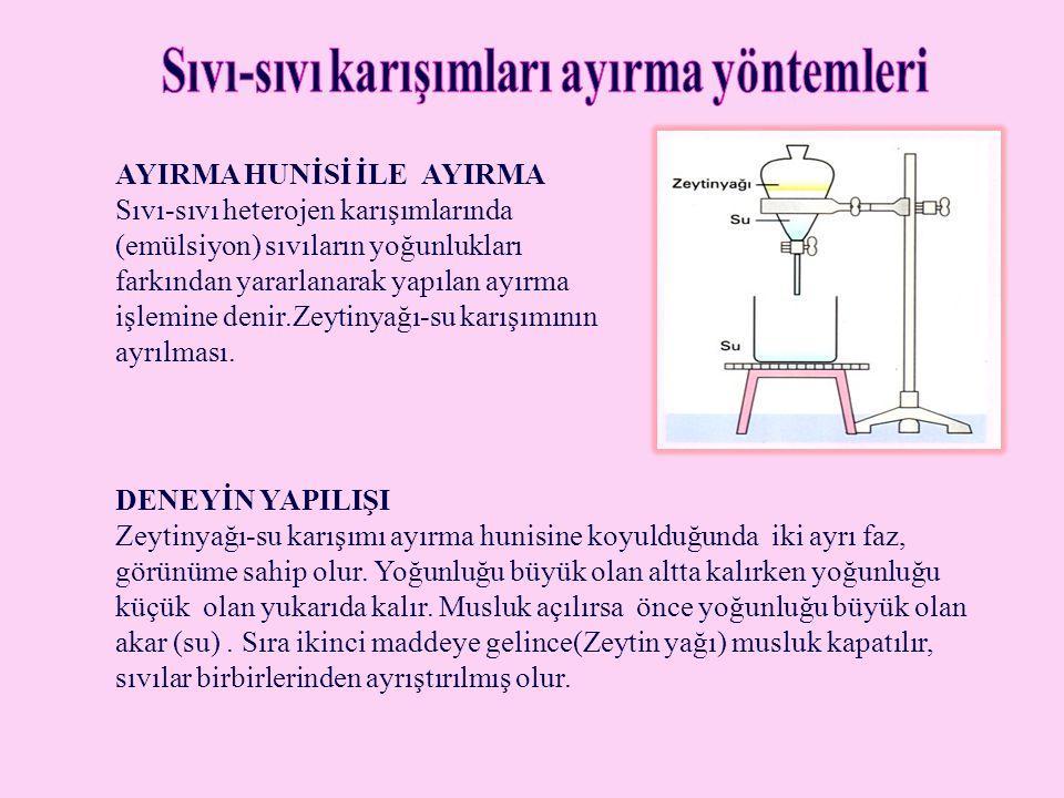 AYIRMA HUNİSİ İLE AYIRMA Sıvı-sıvı heterojen karışımlarında (emülsiyon) sıvıların yoğunlukları farkından yararlanarak yapılan ayırma işlemine denir.Ze