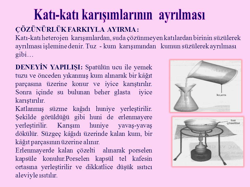 • • GÖZLEM: Katı-katı hetrojen karışımlarından birisi suda çözünüyorsa, diğer madde süzülerek ayrılır.
