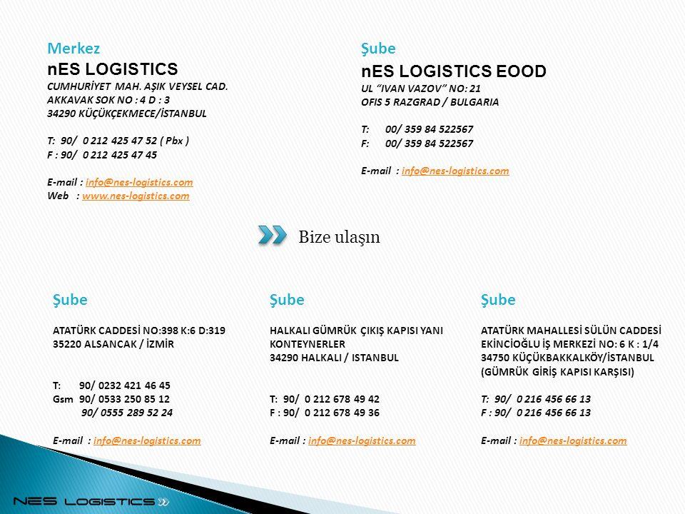 Şube ATATÜRK CADDESİ NO:398 K:6 D:319 35220 ALSANCAK / İZMİR T: 90/ 0232 421 46 45 Gsm 90/ 0533 250 85 12 90/ 0555 289 52 24 E-mail : info@nes-logistics.cominfo@nes-logistics.com Şube HALKALI GÜMRÜK ÇIKIŞ KAPISI YANI KONTEYNERLER 34290 HALKALI / ISTANBUL T: 90/ 0 212 678 49 42 F : 90/ 0 212 678 49 36 E-mail : info@nes-logistics.cominfo@nes-logistics.com Şube nES LOGISTICS EOOD UL IVAN VAZOV NO: 21 OFIS 5 RAZGRAD / BULGARIA T: 00/ 359 84 522567 F: 00/ 359 84 522567 E-mail : info@nes-logistics.cominfo@nes-logistics.com Merkez nES LOGISTICS CUMHURİYET MAH.