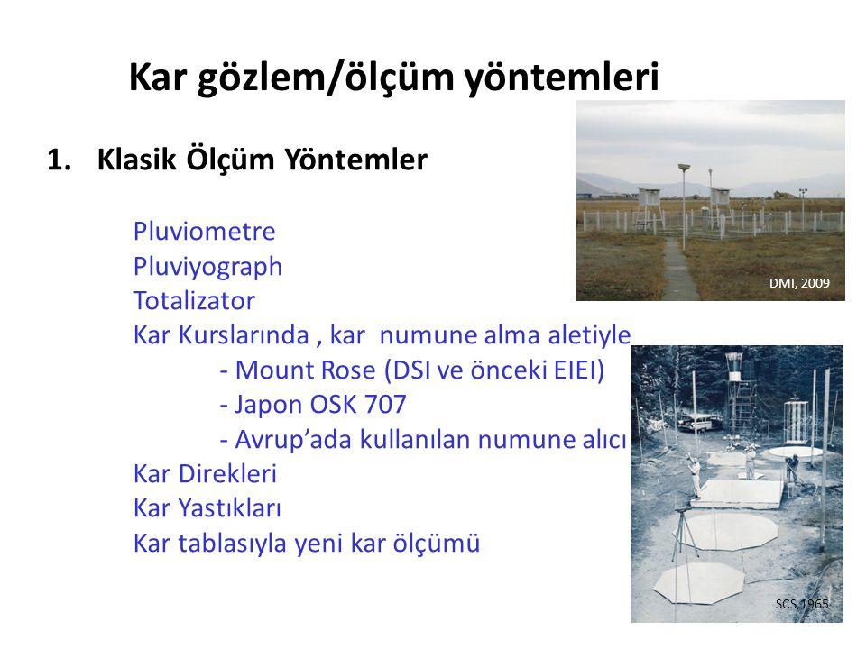 1. Klasik Ölçüm Yöntemler Pluviometre Pluviyograph Totalizator Kar Kurslarında, kar numune alma aletiyle - Mount Rose (DSI ve önceki EIEI) - Japon OSK