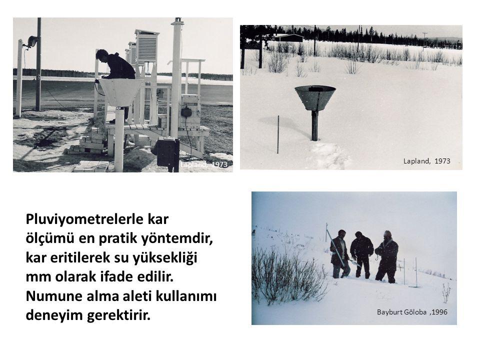 Lapland, 1973 Bayburt Göloba,1996 Pluviyometrelerle kar ölçümü en pratik yöntemdir, kar eritilerek su yüksekliği mm olarak ifade edilir. Numune alma a