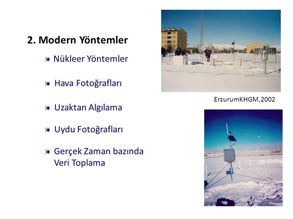 Hava Fotoğrafları Uzaktan Algılama Uydu Fotoğrafları Gerçek Zaman bazında Veri Toplama Nükleer Yöntemler 2. Modern Yöntemler ErzurumKHGM,2002