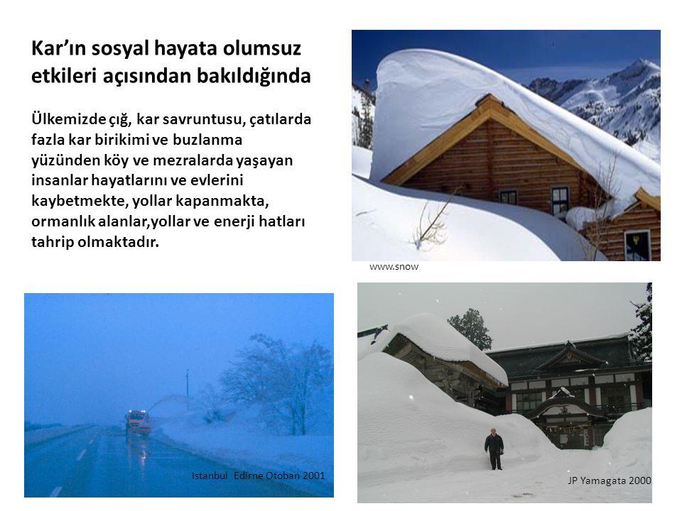 Kar'ın sosyal hayata olumsuz etkileri açısından bakıldığında Ülkemizde çığ, kar savruntusu, çatılarda fazla kar birikimi ve buzlanma yüzünden köy ve m