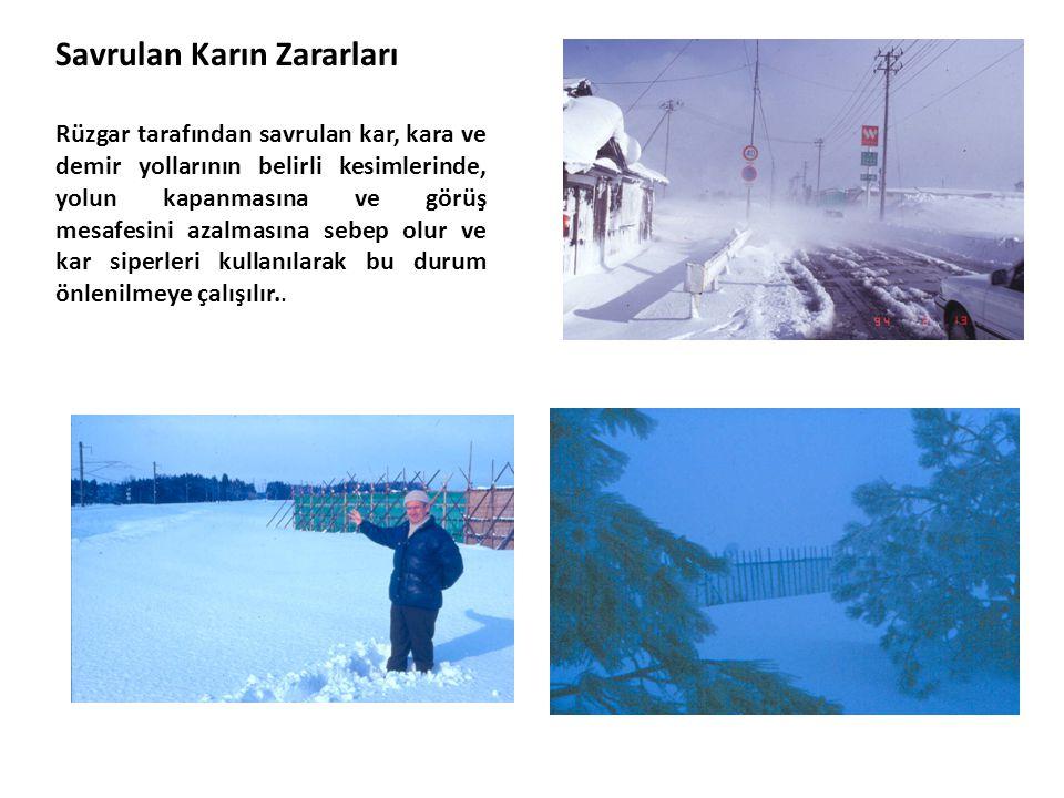 Savrulan Karın Zararları Rüzgar tarafından savrulan kar, kara ve demir yollarının belirli kesimlerinde, yolun kapanmasına ve görüş mesafesini azalması