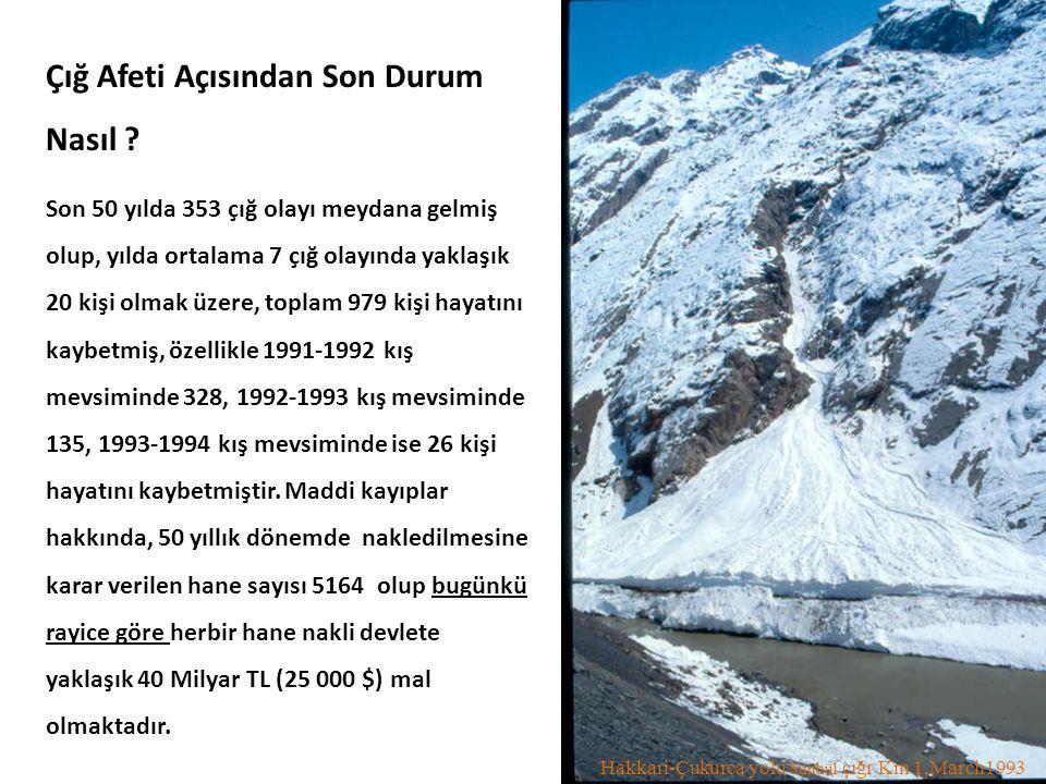 Hakkari-Çukurca yolu Sünbül çığı Km 1,March1993 Çığ Afeti Açısından Son Durum Nasıl ? Son 50 yılda 353 çığ olayı meydana gelmiş olup, yılda ortalama 7