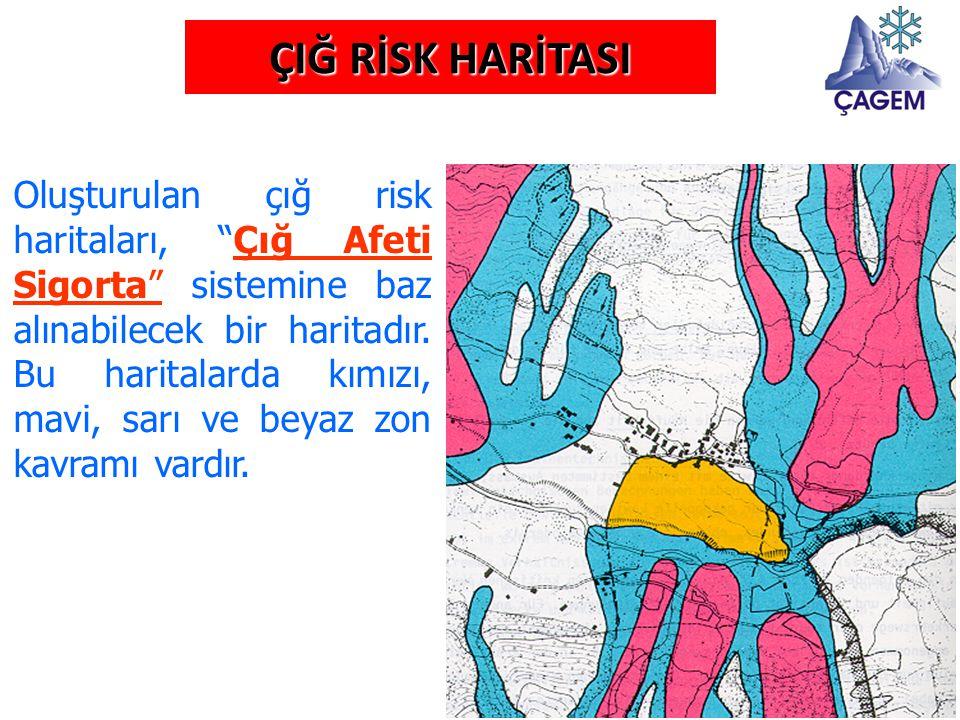 """ÇIĞ RİSK HARİTASI Oluşturulan çığ risk haritaları, """"Çığ Afeti Sigorta"""" sistemine baz alınabilecek bir haritadır. Bu haritalarda kımızı, mavi, sarı ve"""