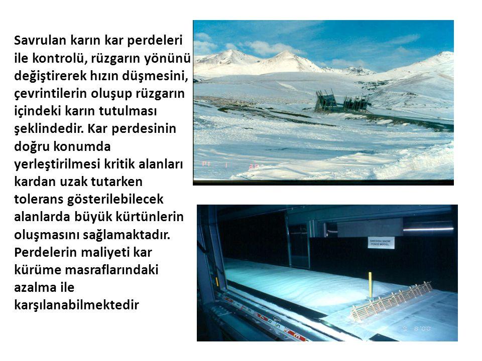 Savrulan karın kar perdeleri ile kontrolü, rüzgarın yönünü değiştirerek hızın düşmesini, çevrintilerin oluşup rüzgarın içindeki karın tutulması şeklin