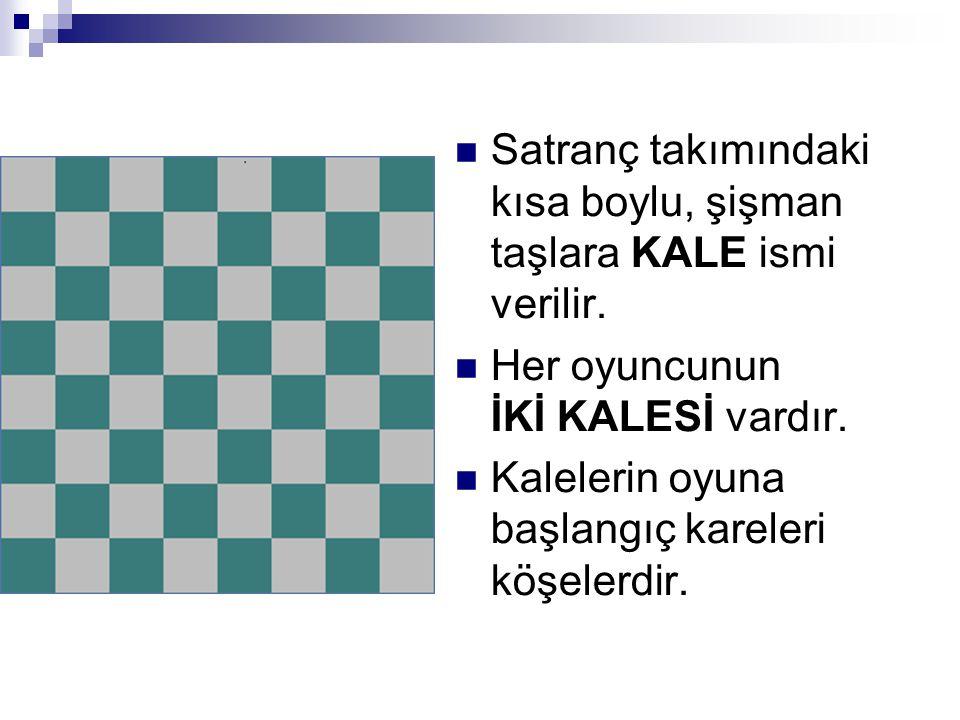 SSatranç takımındaki kısa boylu, şişman taşlara KALE ismi verilir. HHer oyuncunun İKİ KALESİ vardır. KKalelerin oyuna başlangıç kareleri köşeler