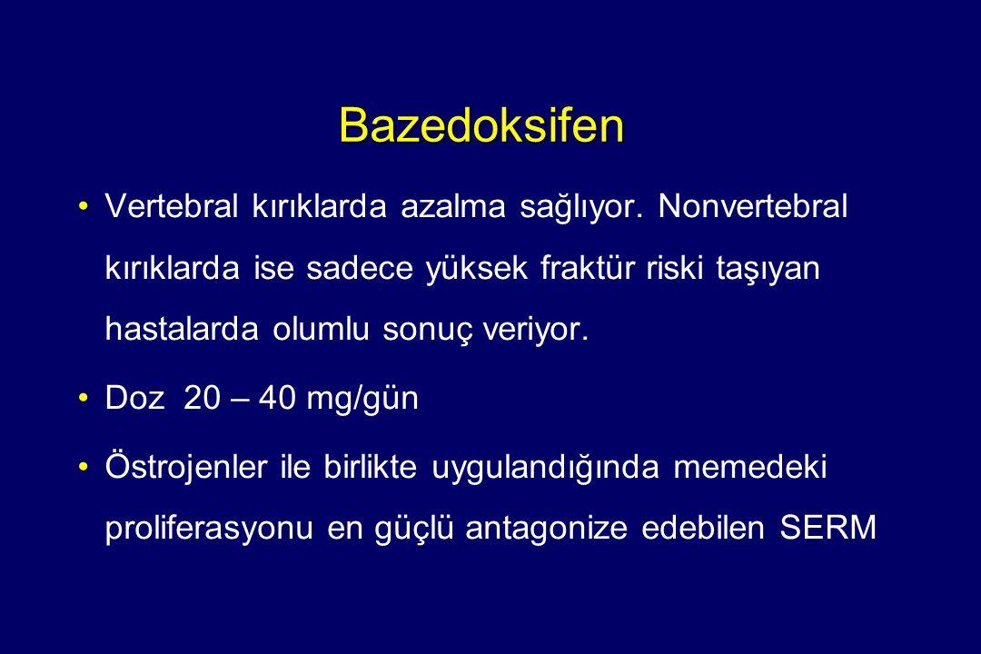 Bazedoksifen •Vertebral kırıklarda azalma sağlıyor. Nonvertebral kırıklarda ise sadece yüksek fraktür riski taşıyan hastalarda olumlu sonuç veriyor. •