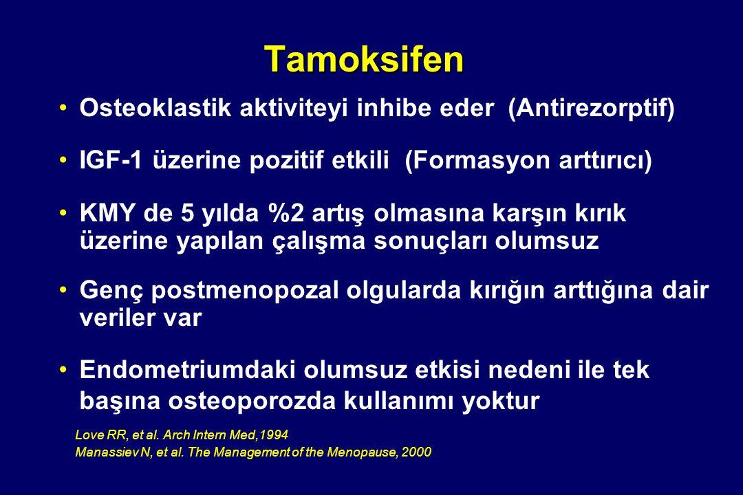 Tamoksifen •Osteoklastik aktiviteyi inhibe eder (Antirezorptif) •IGF-1 üzerine pozitif etkili (Formasyon arttırıcı) •KMY de 5 yılda %2 artış olmasına