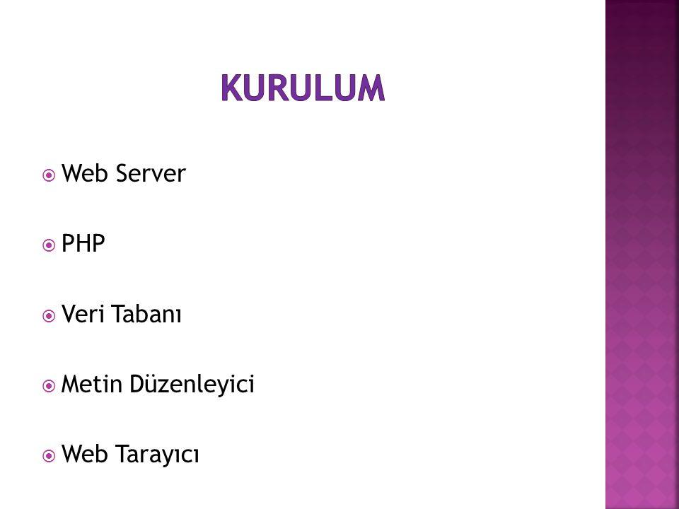  Web Server  PHP  Veri Tabanı  Metin Düzenleyici  Web Tarayıcı
