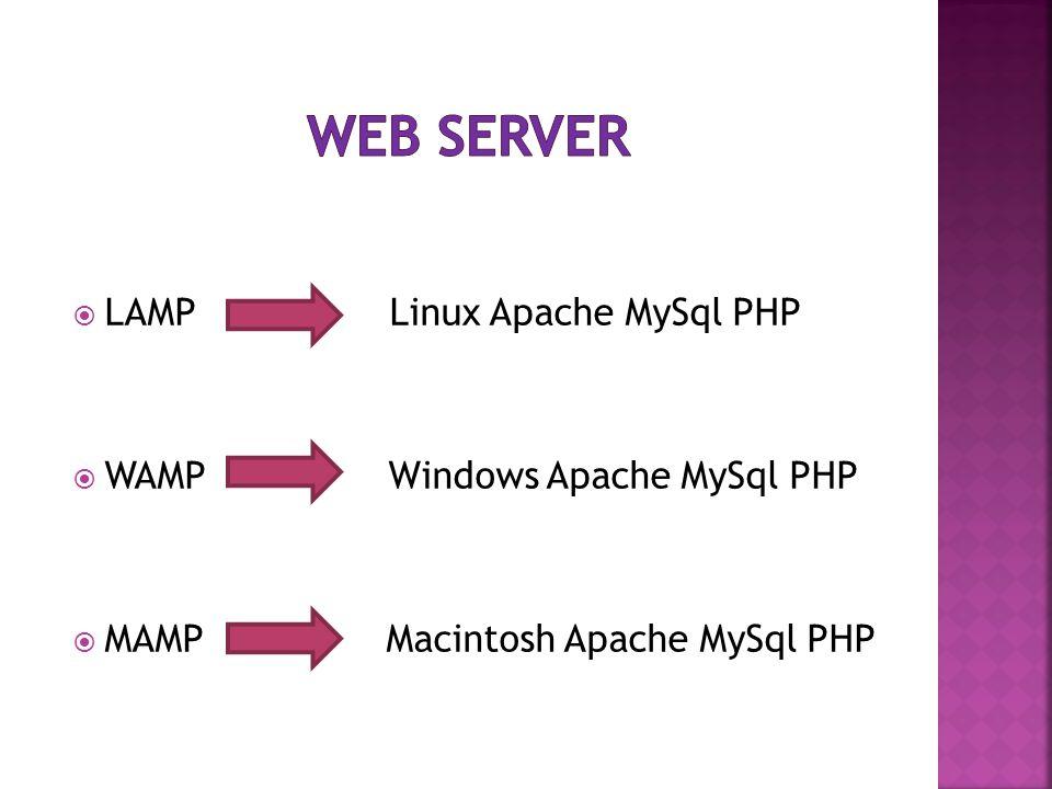  LAMP Linux Apache MySql PHP  WAMP Windows Apache MySql PHP  MAMP Macintosh Apache MySql PHP