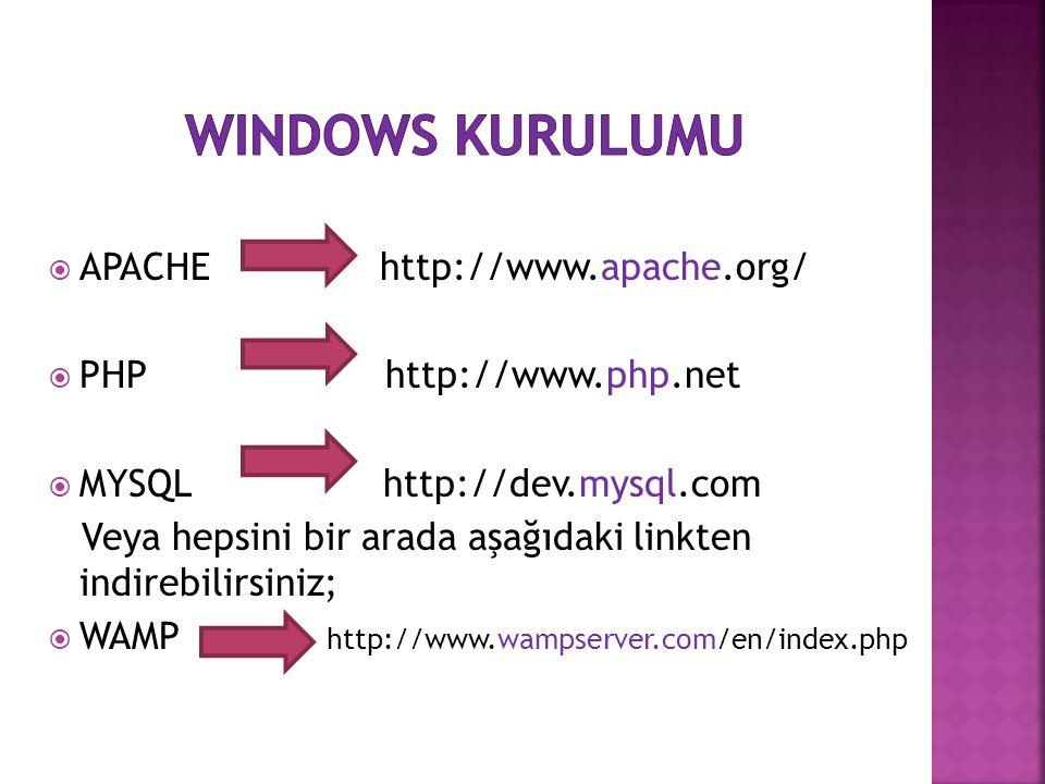  APACHE http://www.apache.org/  PHP http://www.php.net  MYSQL http://dev.mysql.com Veya hepsini bir arada aşağıdaki linkten indirebilirsiniz;  WAM