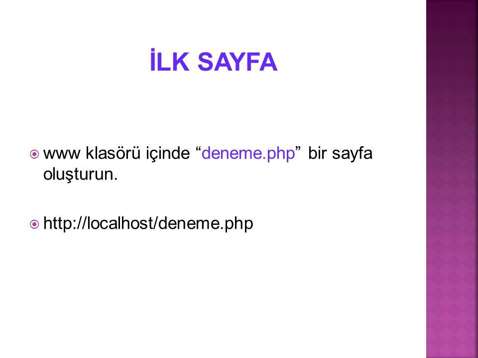 """ www klasörü içinde """"deneme.php"""" bir sayfa oluşturun.  http://localhost/deneme.php"""