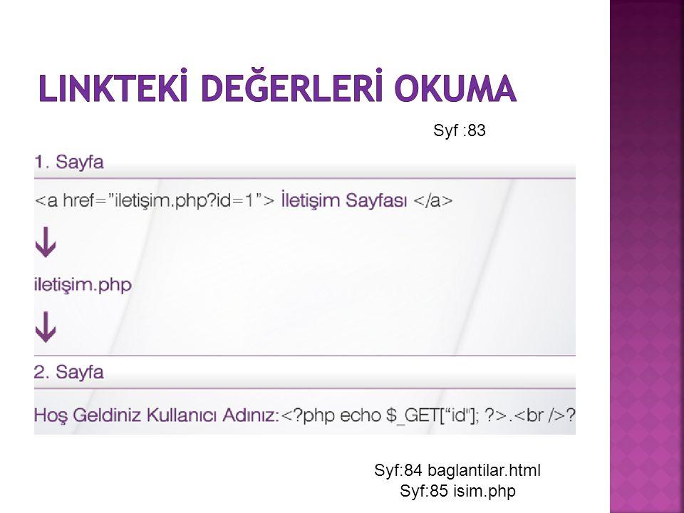 Syf :83 Syf:84 baglantilar.html Syf:85 isim.php