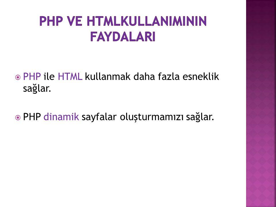  PHP ile HTML kullanmak daha fazla esneklik sağlar.  PHP dinamik sayfalar oluşturmamızı sağlar.
