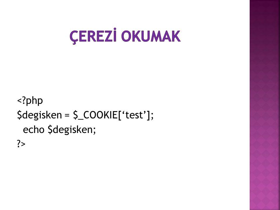 <?php $degisken = $_COOKIE['test']; echo $degisken; ?>