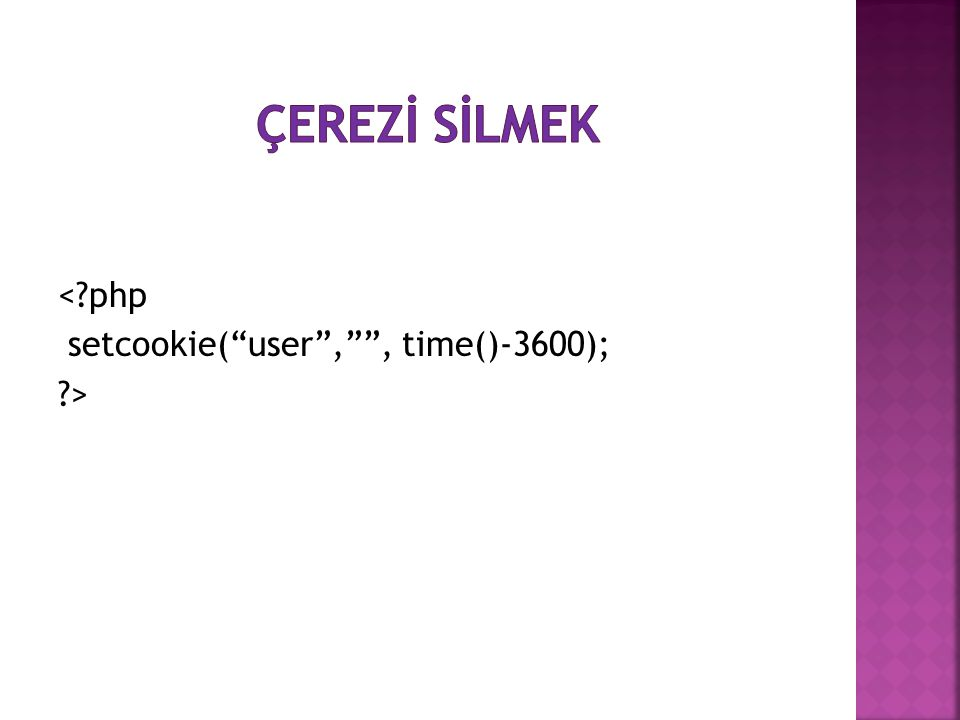 """<?php setcookie(""""user"""","""""""", time()-3600); ?>"""