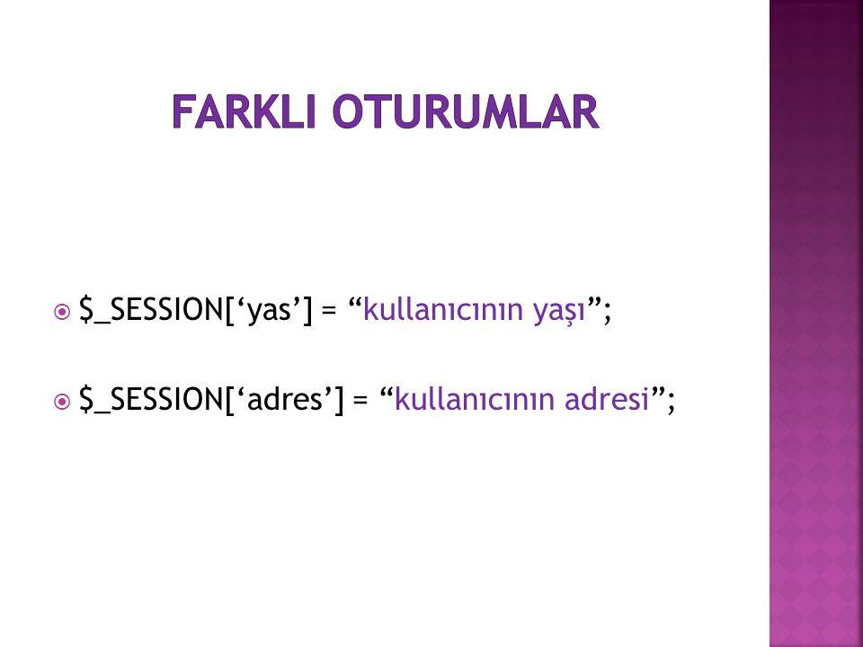 """ $_SESSION['yas'] = """"kullanıcının yaşı"""";  $_SESSION['adres'] = """"kullanıcının adresi"""";"""