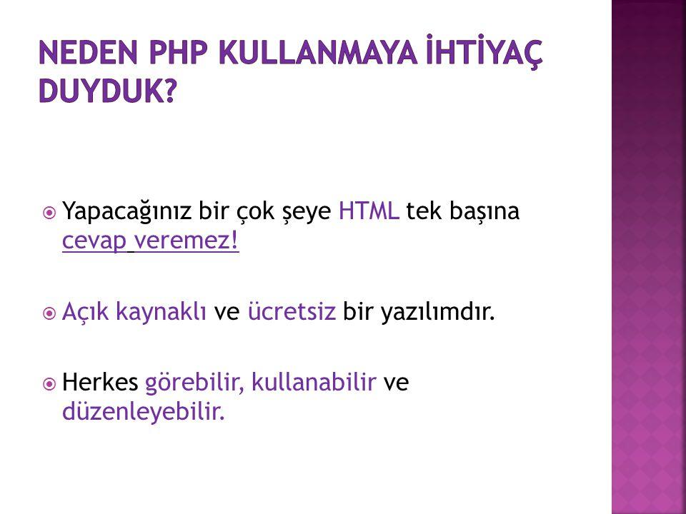  Yapacağınız bir çok şeye HTML tek başına cevap veremez!  Açık kaynaklı ve ücretsiz bir yazılımdır.  Herkes görebilir, kullanabilir ve düzenleyebil