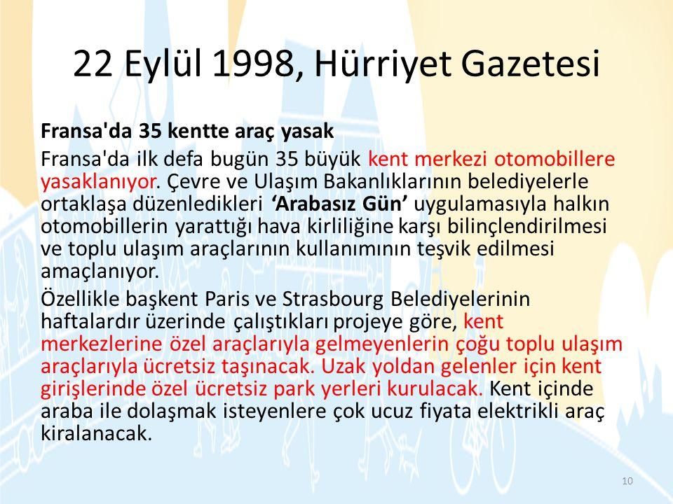 22 Eylül 1998, Hürriyet Gazetesi Fransa'da 35 kentte araç yasak Fransa'da ilk defa bugün 35 büyük kent merkezi otomobillere yasaklanıyor. Çevre ve Ula
