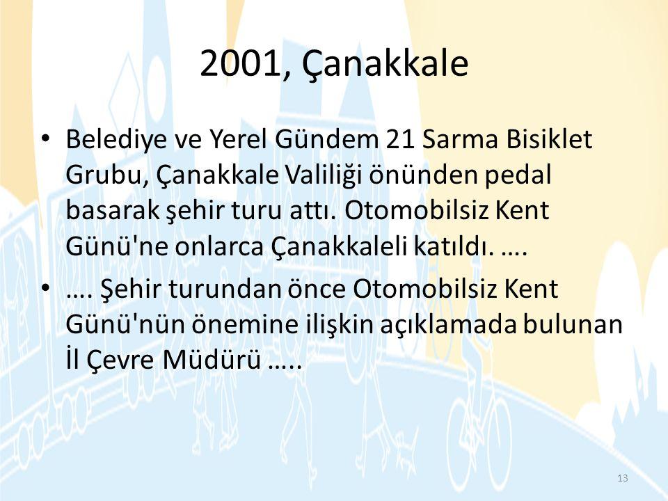 2001, Çanakkale • Belediye ve Yerel Gündem 21 Sarma Bisiklet Grubu, Çanakkale Valiliği önünden pedal basarak şehir turu attı. Otomobilsiz Kent Günü'ne