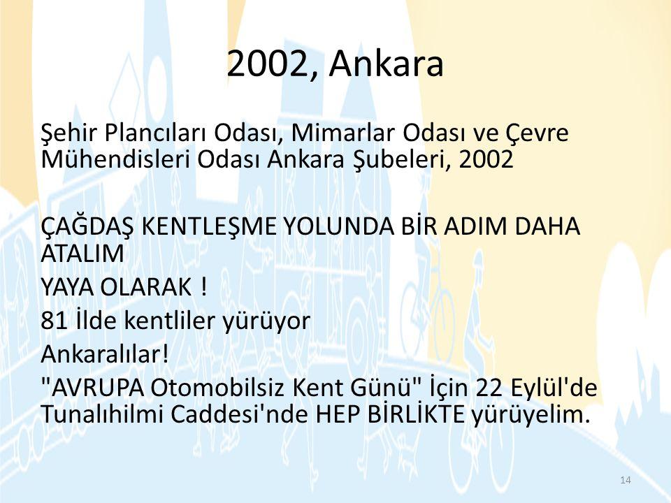 2002, Ankara Şehir Plancıları Odası, Mimarlar Odası ve Çevre Mühendisleri Odası Ankara Şubeleri, 2002 ÇAĞDAŞ KENTLEŞME YOLUNDA BİR ADIM DAHA ATALIM YA